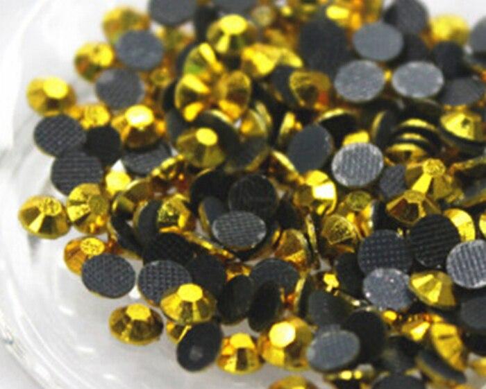 5mm 1000 unids/bolsa de Metal color amarillo caliente del arreglo DMC FlatBack diamantes de deslizadores de piedra de cristal de ropa de hierro cortado a máquina