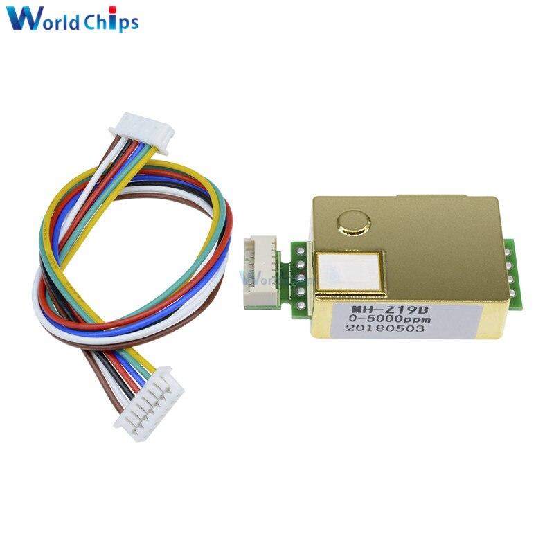 1pcs MH-Z19 NDIR CO2 Sensor Module infrared co2 sensor 0-5000ppm for CO2 Monitor Carbon Dioxide Sensor MH-Z19B With Lines
