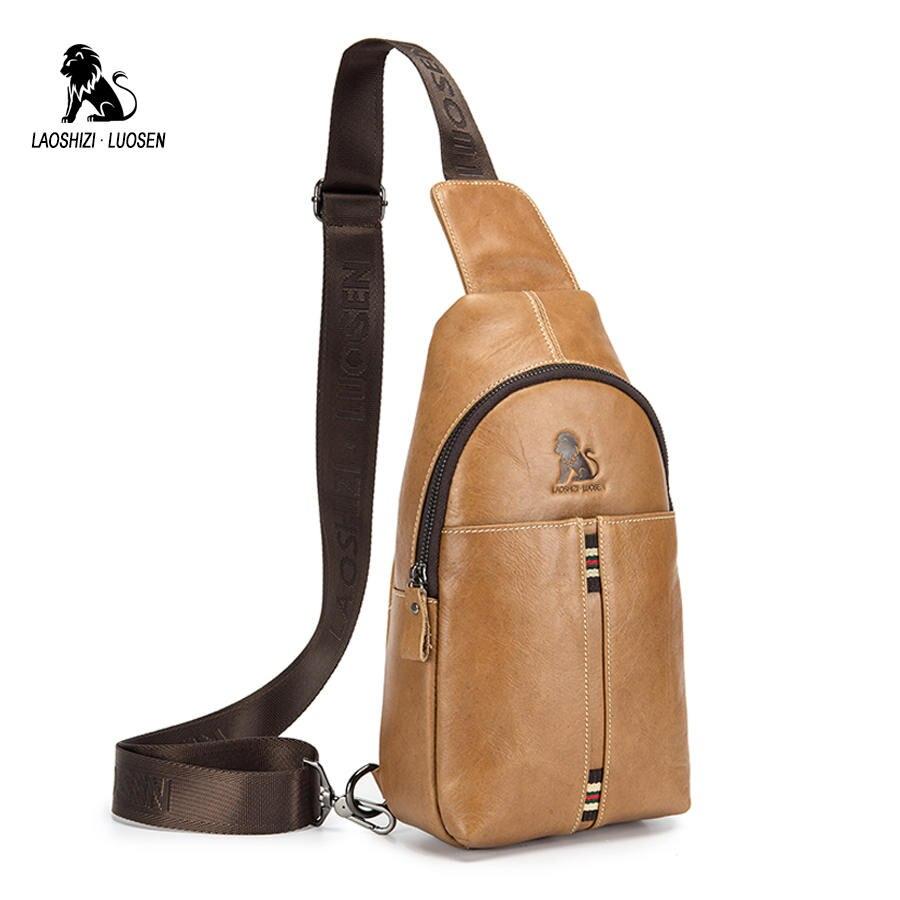 LAOSHIZI LUOSEN 2020 Fashion Genuine Leather Men Waist Bag Male Packs Belt Loops Chest Bag Mobile Phone Holder Pouch Male Purse