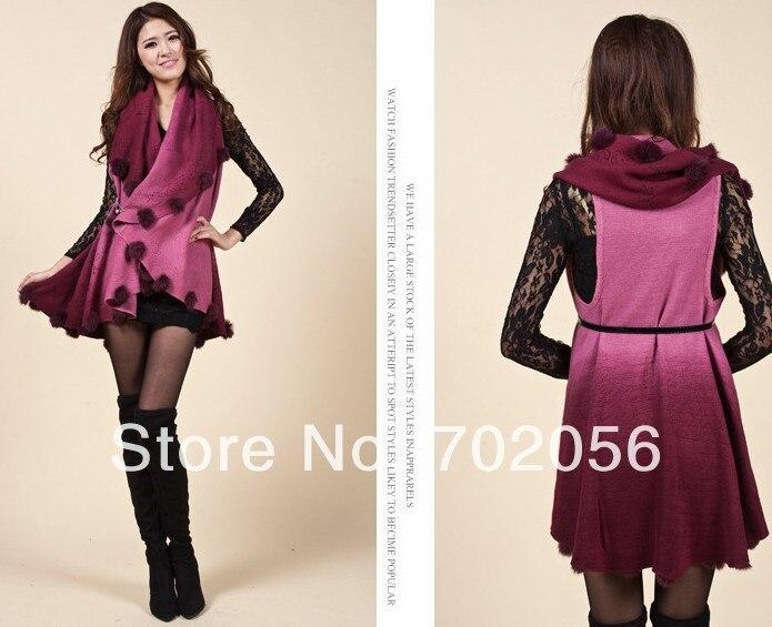 Luxury Faded 2 tone rabbit fur ball fringed wraps shawl Sarongs Hijabs scarf ponhos stole mixed colors SOFT #3446