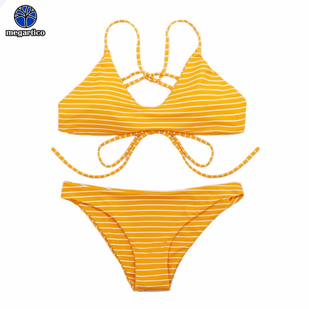 Traje de baño Megartico de encaje para mujer, bikini brasileño, bañadores con rayas azules, sin espalda, sexy bikini push up con aros para mujer