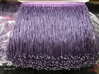 purple handmade 15cm wide beaded fringe trimming5yard about 270 beads threadsyard sgtm1