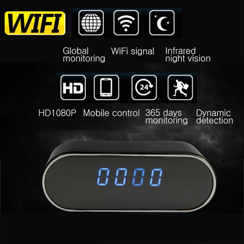 Sansnail 1080P H.264 de la cámara del reloj de tabla de configuración de alarma de Mini cámara IR visión nocturna Wifi Cam IP de la cámara Mini cámara DV DVR videocámara