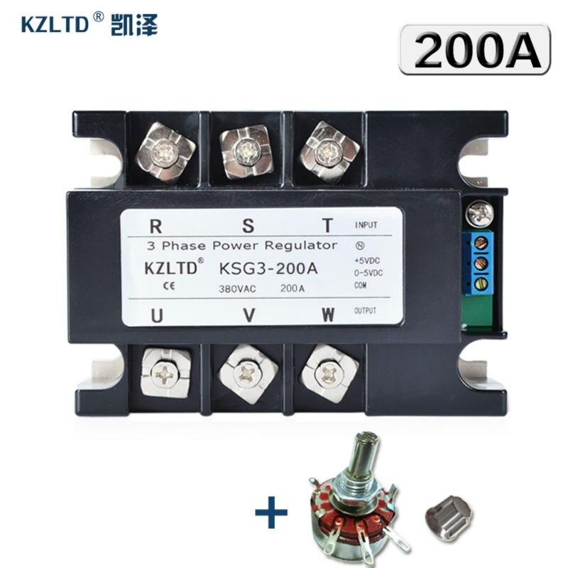 Kzltd. трехфазный регулятор напряжения 200A 4-20MA 0-5 В до 380 В переменного тока трехфазный твердотельный релейный SSR 200A регулятор мощности