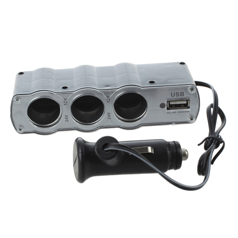 Car Cigarette Lighter Triple Socket Adapter with USB Output (Black)