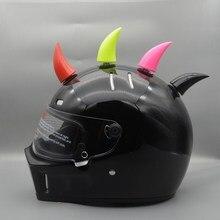 Casque de moto en forme de corne   2 pièces, fournitures de bijouterie, autocollants de voiture pour Ski, noir rouge rose vert
