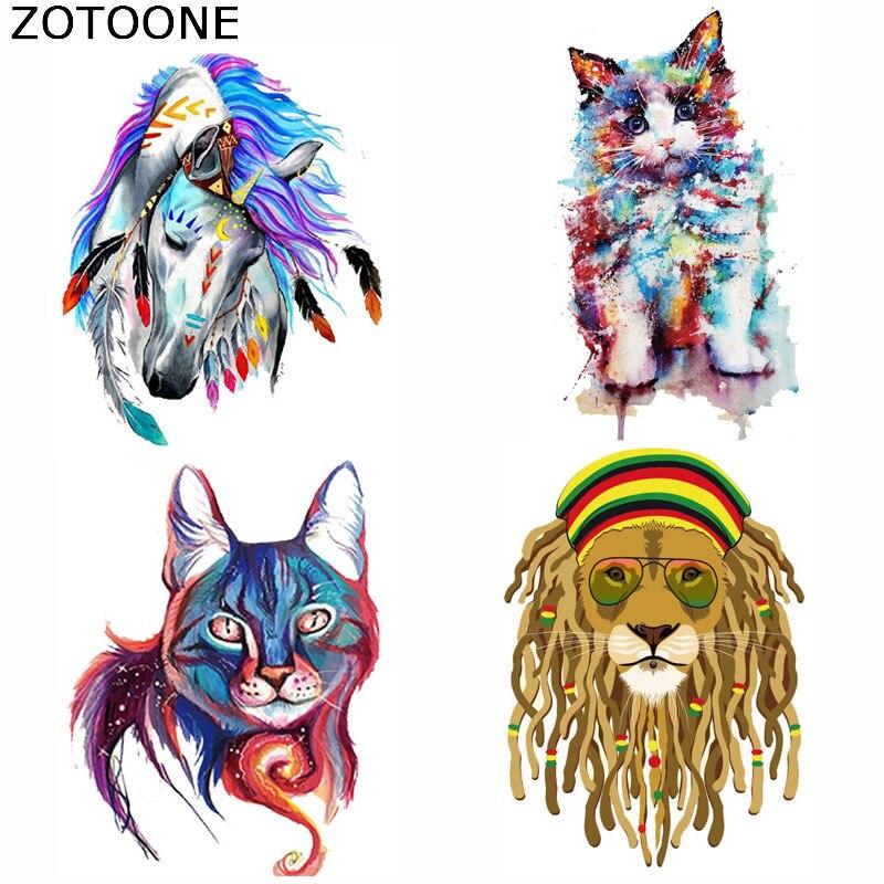 ZOTOONE, parches de hierro para gato, Tigre, caballo, parches de animales para ropa, transferencia de calor, prendas de ropa lavables, decoración, apliques, planchas C