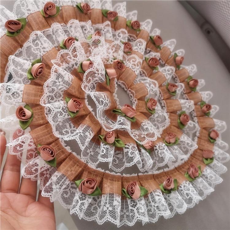 1 metro 3D roseta Floral encaje Trim Khaki Rosa encaje DIY hecho a mano costura encaje para manualidades Accesorios