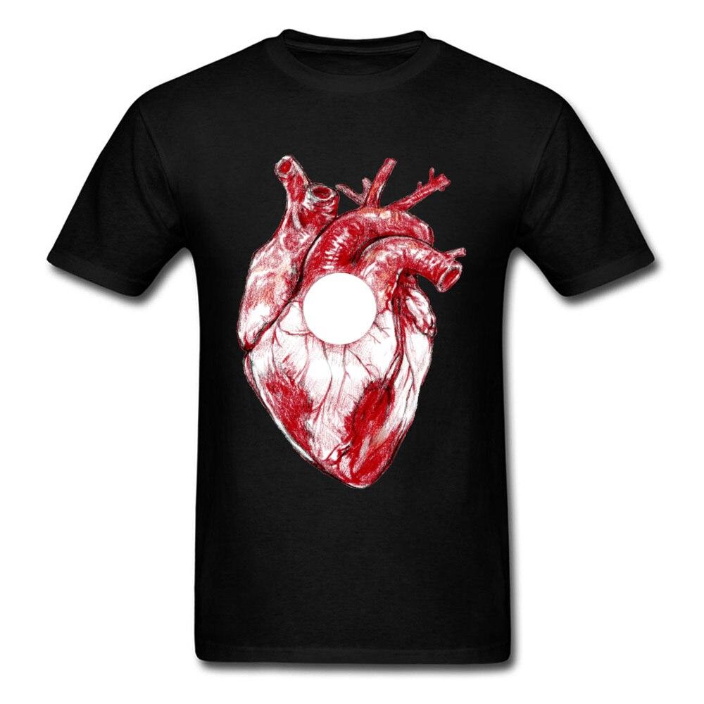 Top qualidade adulto do pai t camisa coração humano vermelho faddish manga curta fino ajuste moda pirnt topos camisetas dos homens famosos t