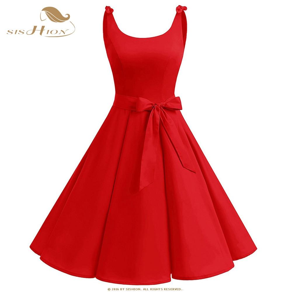 SISHION-vestido Retro con tirantes finos para mujer, Túnica inspirada en Swing, VD1154 vestido Vintage, azul, rojo y negro