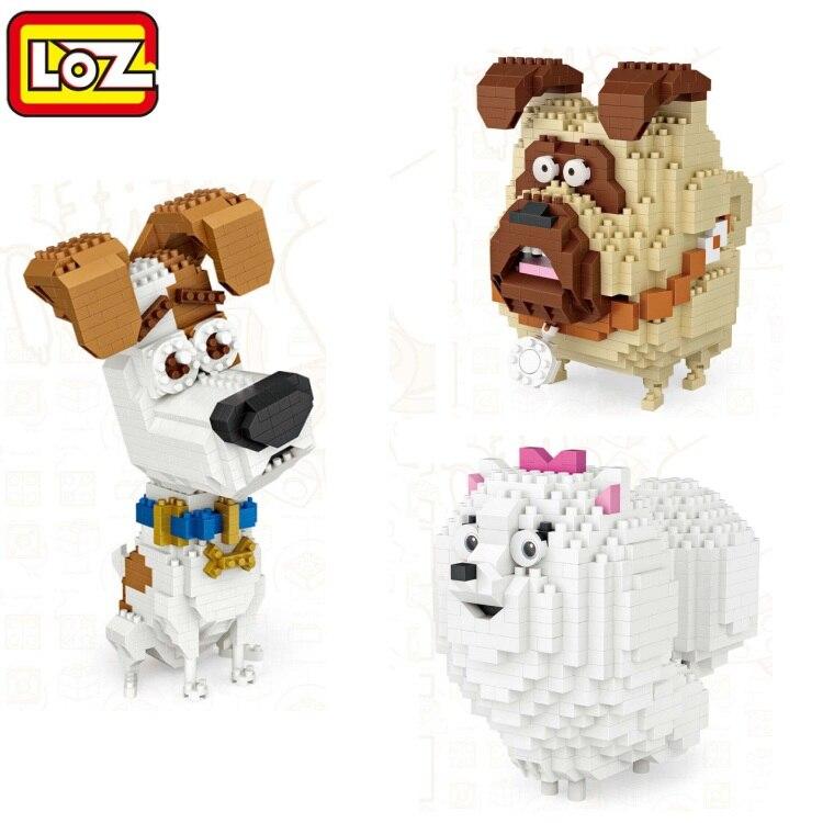 LOZ Mini bloques de dibujos animados perro en miniatura DIy juguete educativo mascota Pomerania pequeño Bulldog brinquedos niños edificio ladrillos regalos 9789