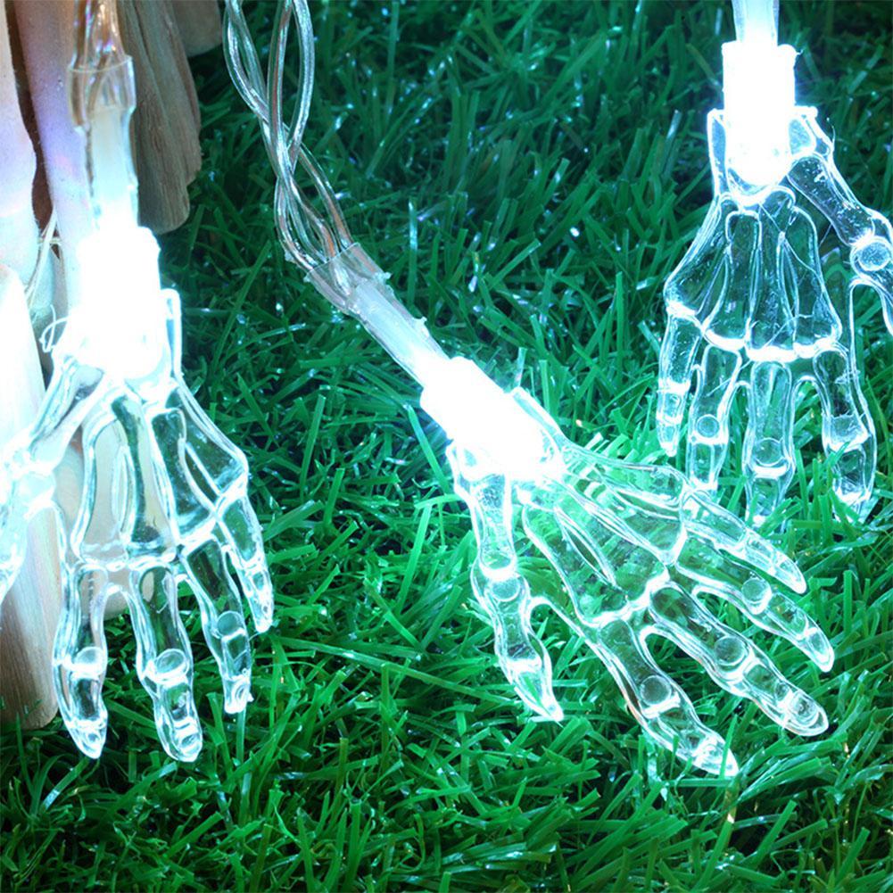 1.2M 10 LED Ghost Hand Shape String Lamp Halloween Toy Skeleton Night Light String Light for Halloween Party Home Terror blub