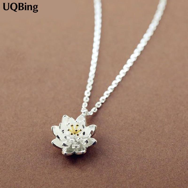 Прямая-поставка-ожерелья-цепочки-из-стерлингового-серебра-925-пробы-подвески-и-ожерелья-с-цветком-лотоса-ювелирные-изделия-ошейник-ожере