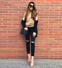 Pantalones de pitillo vaqueros negros elásticos con borlas para mujer agujero largo del tobillo verano y otoño mujer rasgado Slim Tousers elegante pantalón K318