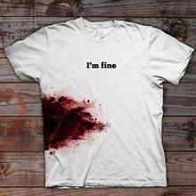 Jestem w porządku t shirt się krzywda krwi kobiety moda grunge tumblr na co dzień street wear horror śmieszne grunge tumblr party hipster tee top