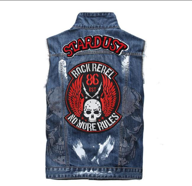 Mens Skull Print Denim Waistcoats Embroidery Patchwork Turn Down Collar Jeans Vests Slim Fit Sleeveless Jacket Jeans Vest J2907