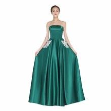 Floor Length Elegant Bridesmaid Dress Tube Top Sexy Women Prom Gowns Appliques A-Line Vestido De Madrinha De Casamento Longo