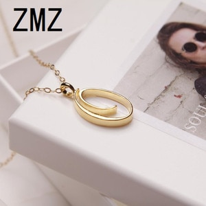 ZMZ 50pcs/lot 2019 Europe/US fashion English letter pendant lovely letter O text necklace gift for mom/girlfriend party jewelry