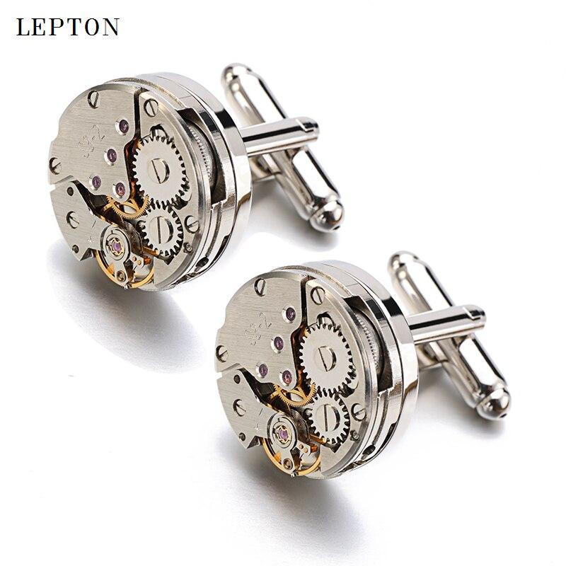 Lepton Steampunk Cufflinks Vintage Watch Movement Cuff links for Men Fathers Day Lover Friends Weddi