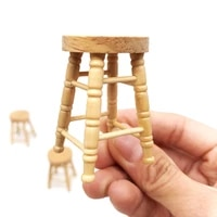 112 dollhouse miniature accessories mini wooden stool simulation chair furniture model toys for doll house decoration