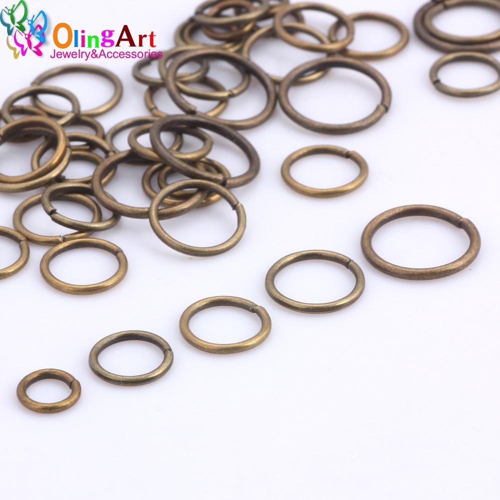 OlingArt Überzug Bronze Jump Ring 6mm/8mm/9mm/10mm/12mm link schleife Mixed größe DIY Schmuck machen Stecker Draht durchmesser 1,0mm