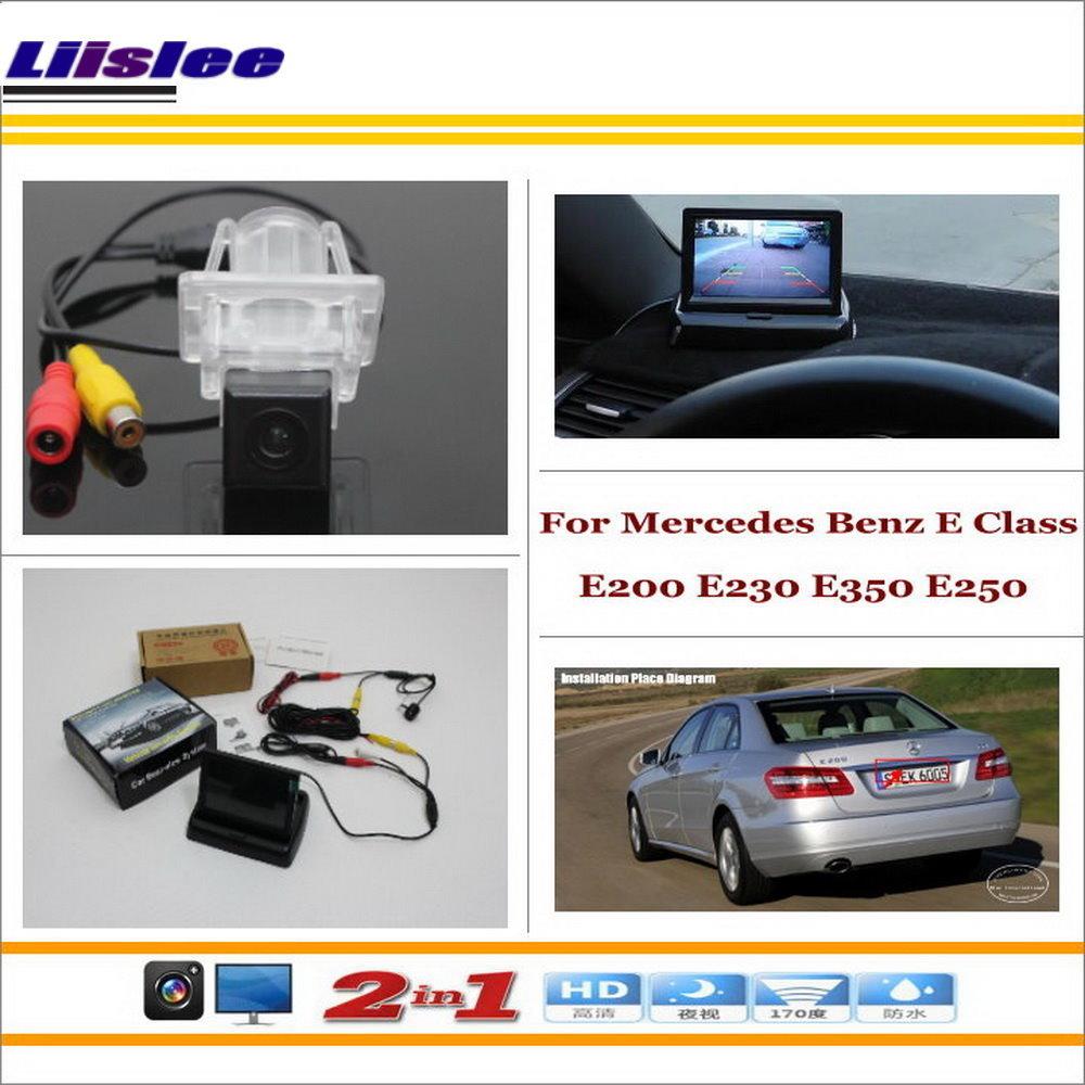 """Liislee Para Mercedes Benz Classe E E200 E230 E250 E350-Rear View Camera Backup + 4.3 """"LCD = 2 em 1 Sistema de Assistência de Estacionamento"""