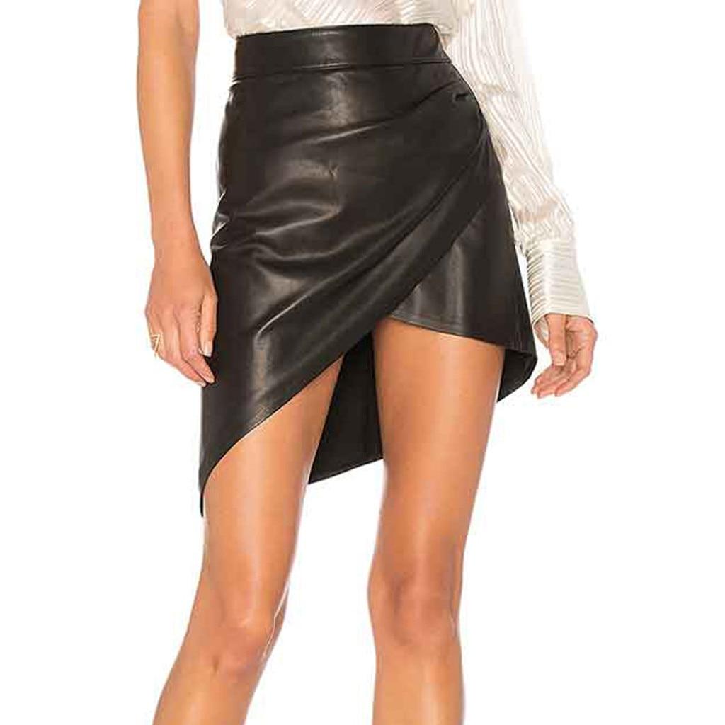 Moda mujer negro Cruz abierta Bodycon imitación de cuero Mini falda Sexy para fiesta faldas para discotecas roupas feminina Jupe Femme z0619