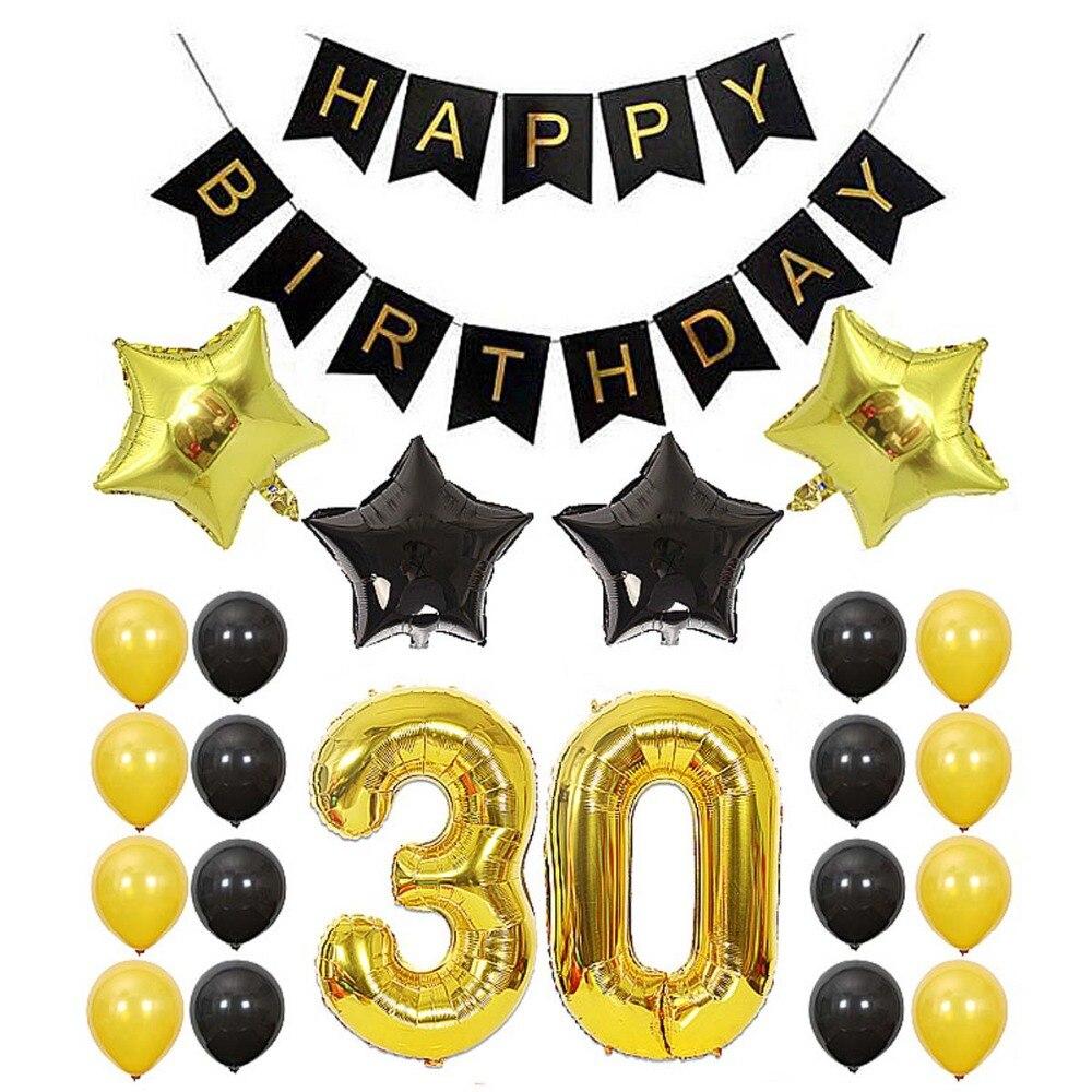 35 stücke 18th 30th 40th 50th 60th Glücklich 30 Geburtstag Banner Bunting Luftballons Set Jahrestag Geburtstag Dekoration Kits Partei Liefert