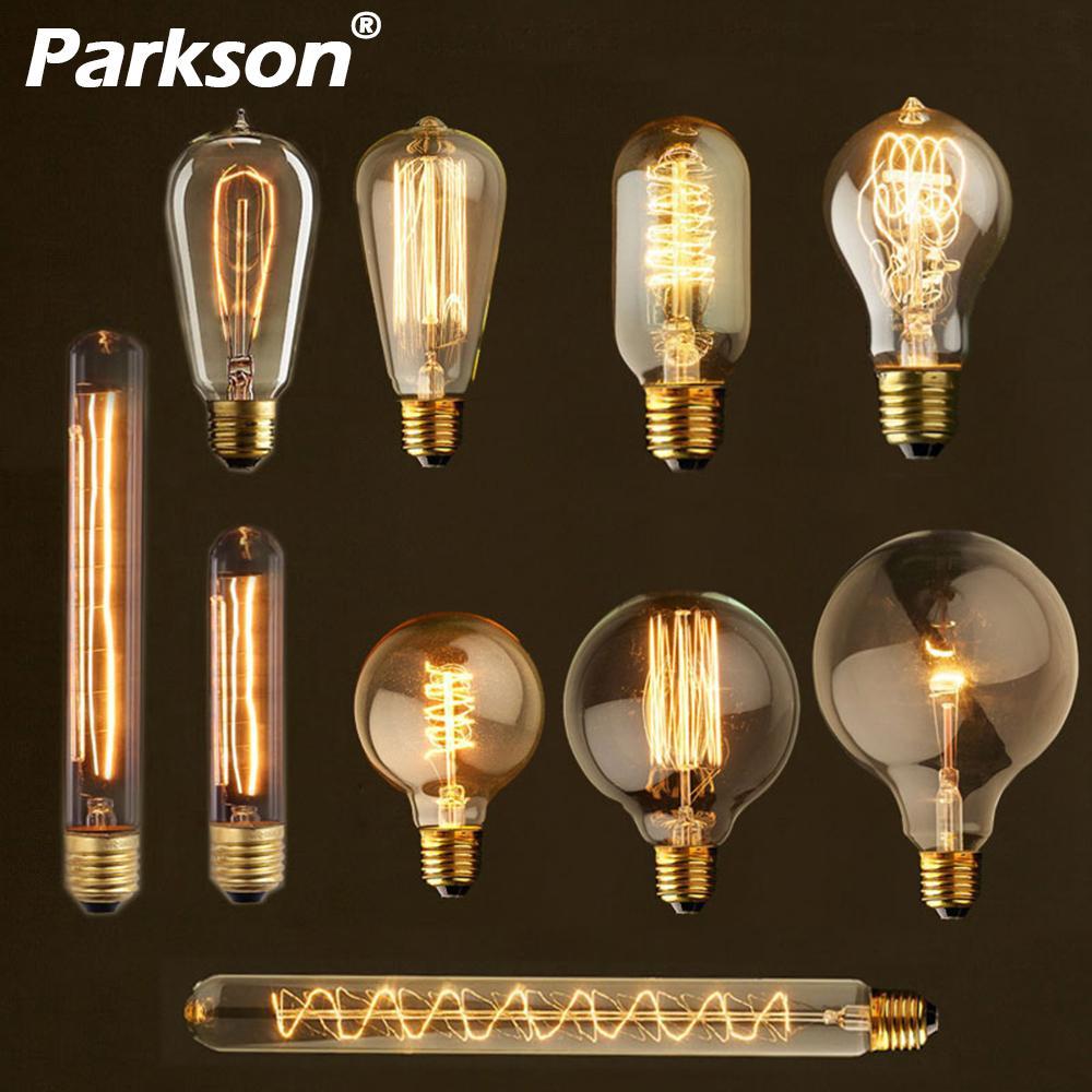 Винтажная светильник ПА накаливания Edison, E27 220V 40W A19 ST64 G80 G95 G125 T10 T45 T185