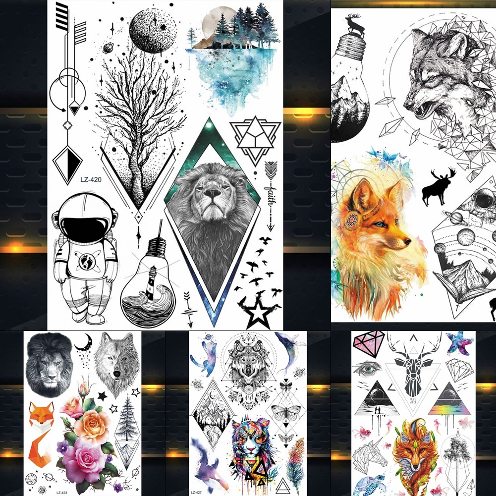 25 diseño indio León tribal rey tótem tatuaje temporal pegatina hombres negro cuerpo arte tatuaje brazo mujeres falso tatuaje de Henna impermeable