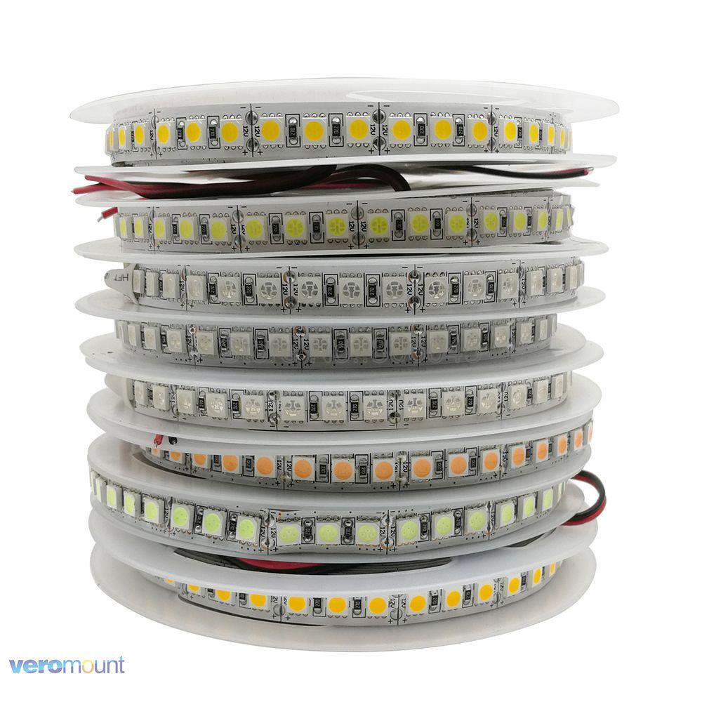 Cinta de tira de LED de 12V 5050, 120 LEDs/m, 5 m, 600 LED, superbrillante, de una sola fila, tira LED Flexible, Blanco cálido, RGB, colores azul hielo