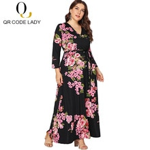 QR Brand Autumn Dress Women 2018 Casual Plus Size Vintage Print Long Dress Female Sexy V Neck Split Boho Beach Maxi Dresses 5XL
