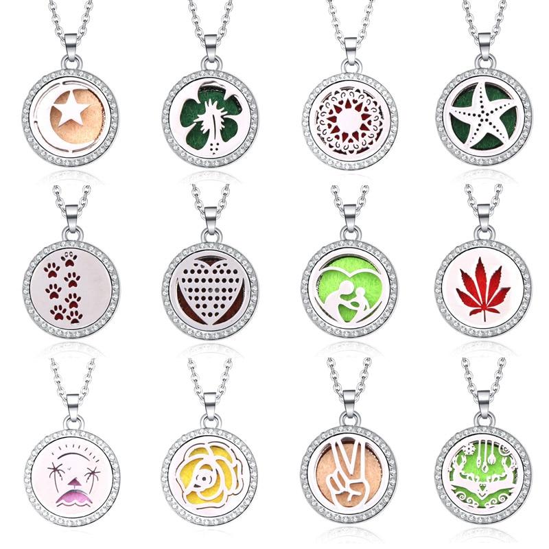 2019 novo strass aromaterapia difusor colar jóias perfume medalhão pingente óleo essencial perfume medalhão colar com almofadas