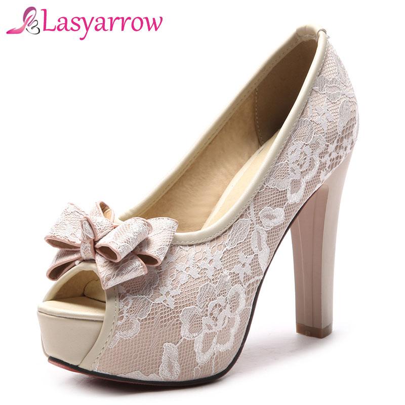 Lasyarrow zapatos de mujer bombas lazo sexi lazo malla hueco Peep Toe grueso tacones altos señoras moda fiesta boda plataforma zapatos RM302
