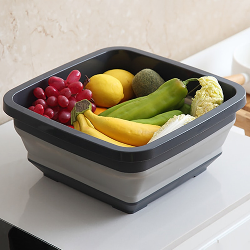مربع الفاكهة الخضار غسل مغسلة المطبخ المنتج Orgnizer للطي بالوعة استنزاف سلة دلو في الهواء الطلق مخيم المحمولة أحواض