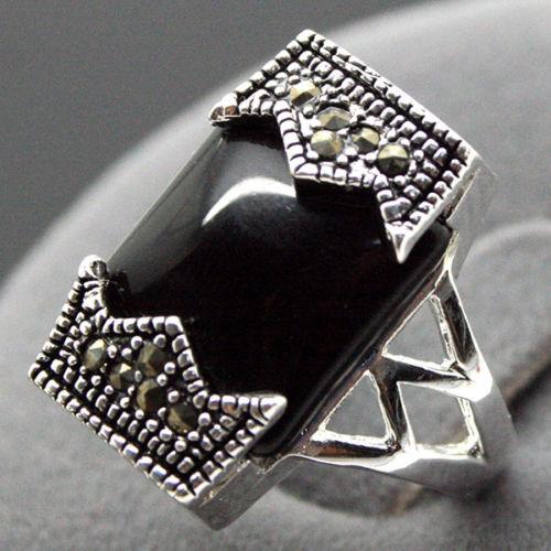Envío Gratis >>>@@ 24*13mm 925 Plata NATURAL rectangular negro piedra anillo de marcasita Tamaño 7/8/ 9/10