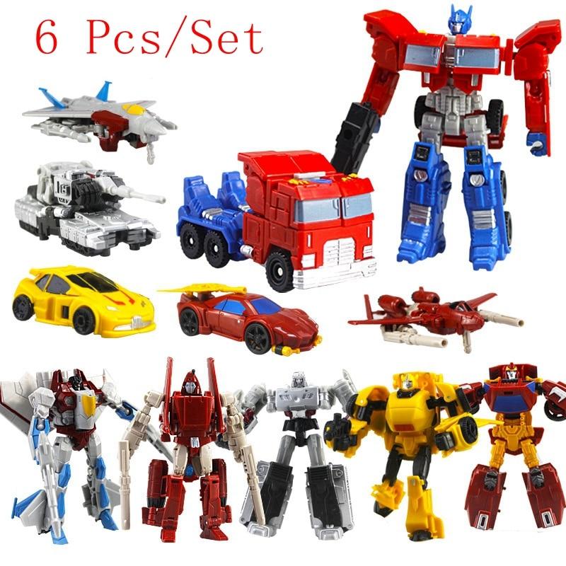 6 unids/set Robots de transformación juguetes de deformación coches figuras robot de acción PVC clásico RobotsToys para regalo de niños