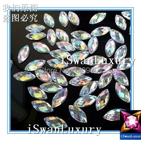 ) El mejor cristal acrílico de calidad Superior 6x12mm claro AB Color Navette marquesina Strass piedras Coser- accesorios para coser diamantes de imitación