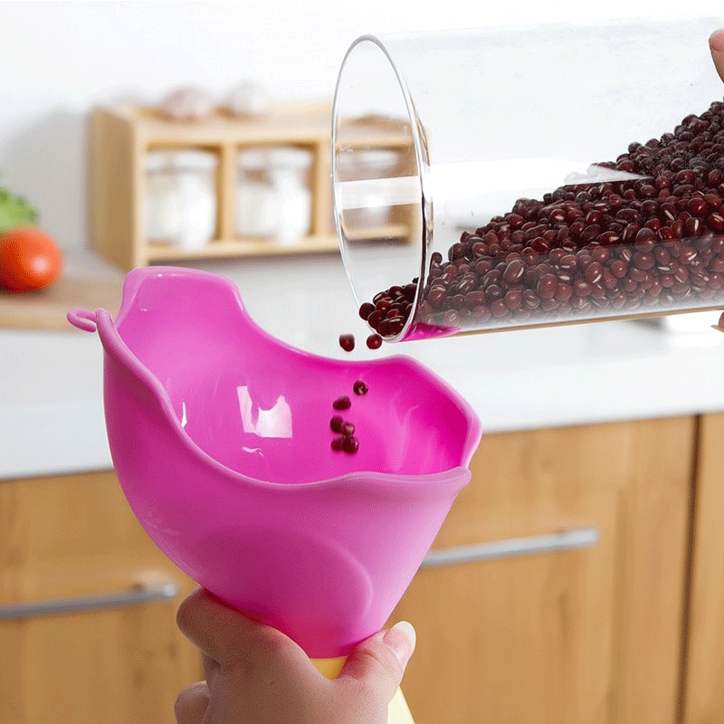 1 Uds. De embudo multiusos de cocina PP, bonito embudo de cocina, multifuncional, rosa, para el hogar, fuga de agua, bonitas fugas de aceite, 13,5 cm * 14cm * 6,7 cm