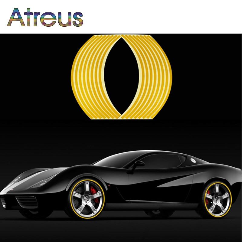 "Atreus 16 Uds coche rueda Pegatinas 14 ""cinta reflectante de llanta para Renault Chevrolet cruze Opel astra h Nissan Juke Peugeot 307"