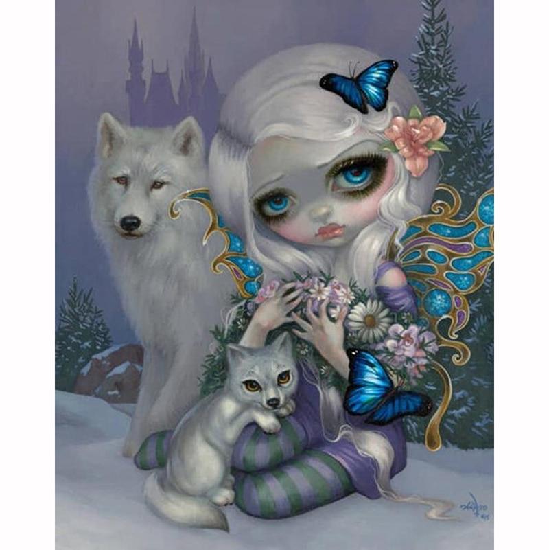 DIY diamond embroidery Wolf With Cartoon Girl diamond painting cross stitch craft full square rhinestone mosaic home decor