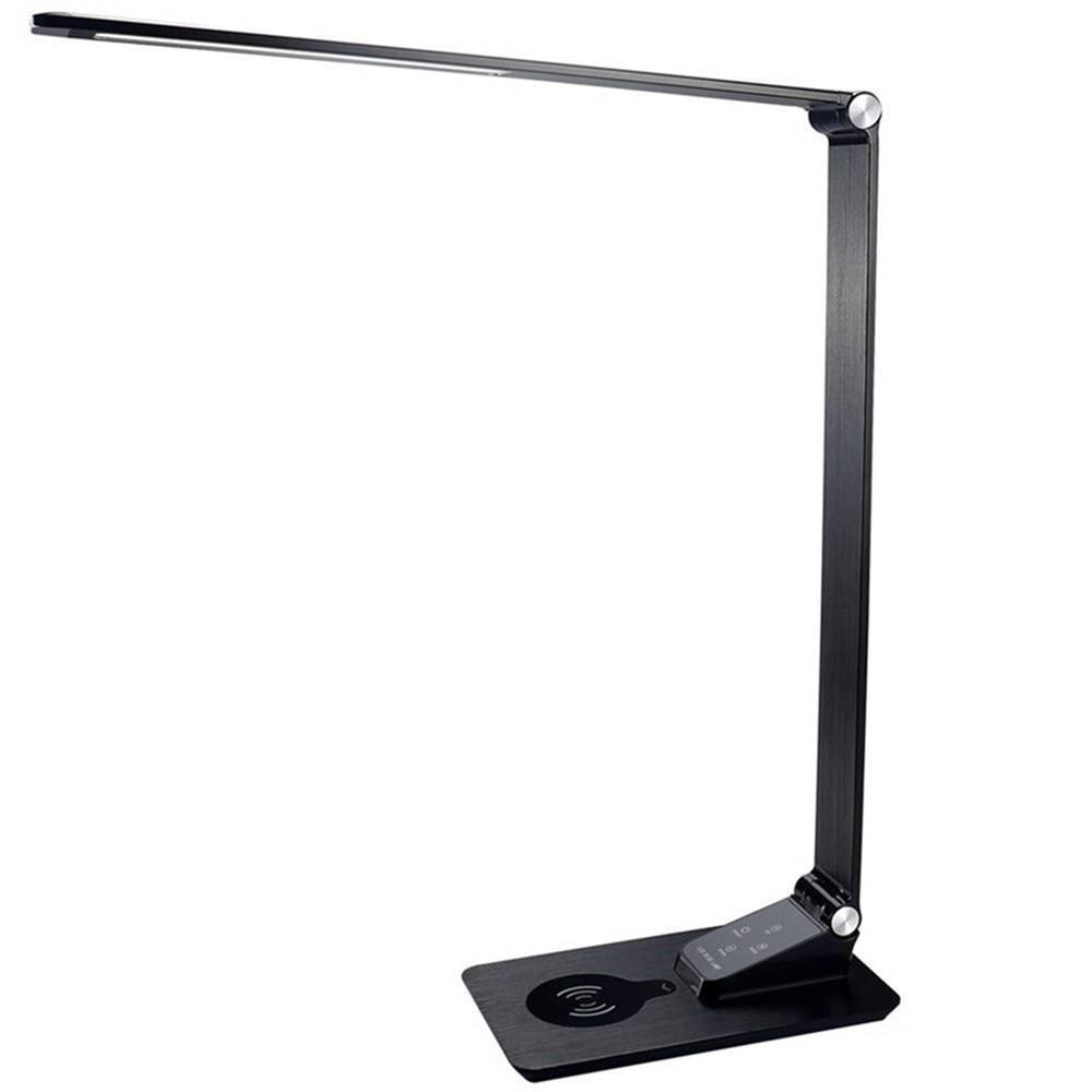 Lámpara de escritorio con cargador inalámbrico, carga USB, 3 colores de brillo 5, lámpara de mesa ajustable para oficina, dormitorio o dormitorio, negro, 7W