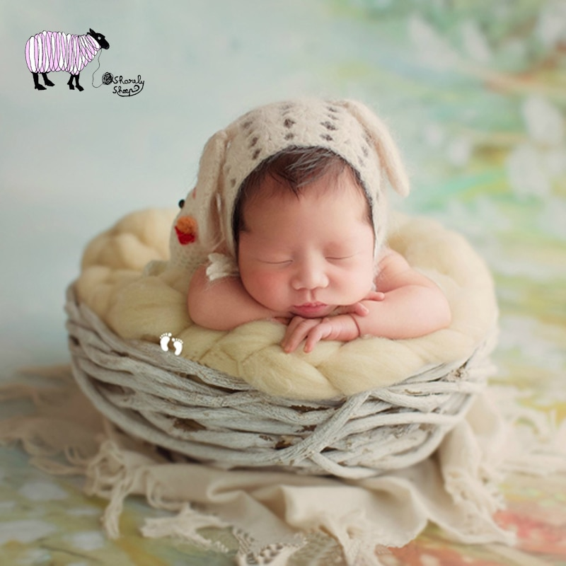 Wooden Basket Newborn Baby Photography Props Infant Baby Girl Boy Photo Shoot Studio Posing Basket fotografia Accessoires Props