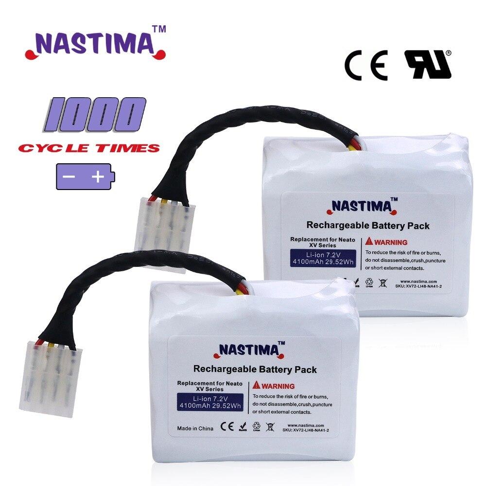7.2V 4100mAh 2pcs Li-ion Battery For Neato XV battery XV11 XV12 XV14 XV15 XV21 XV25 XV Essential XV Pro Robotic Vacuum Cleaner
