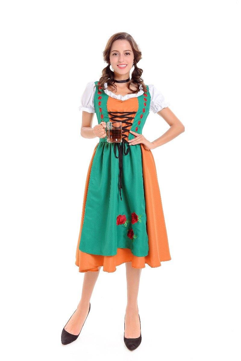 2019 mujeres criada alemana de cerveza campesina Dirndl uniformes Oktoberfest cerveza chica elegante vestido largo adulto disfraz de fiesta de Halloween