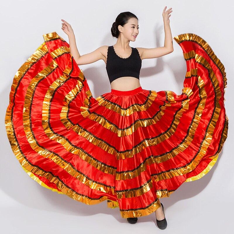 Falda de baile Flamenco de salón para mujer, traje español rojo, faldas gitanas de baile de corrida de toros, DN3051