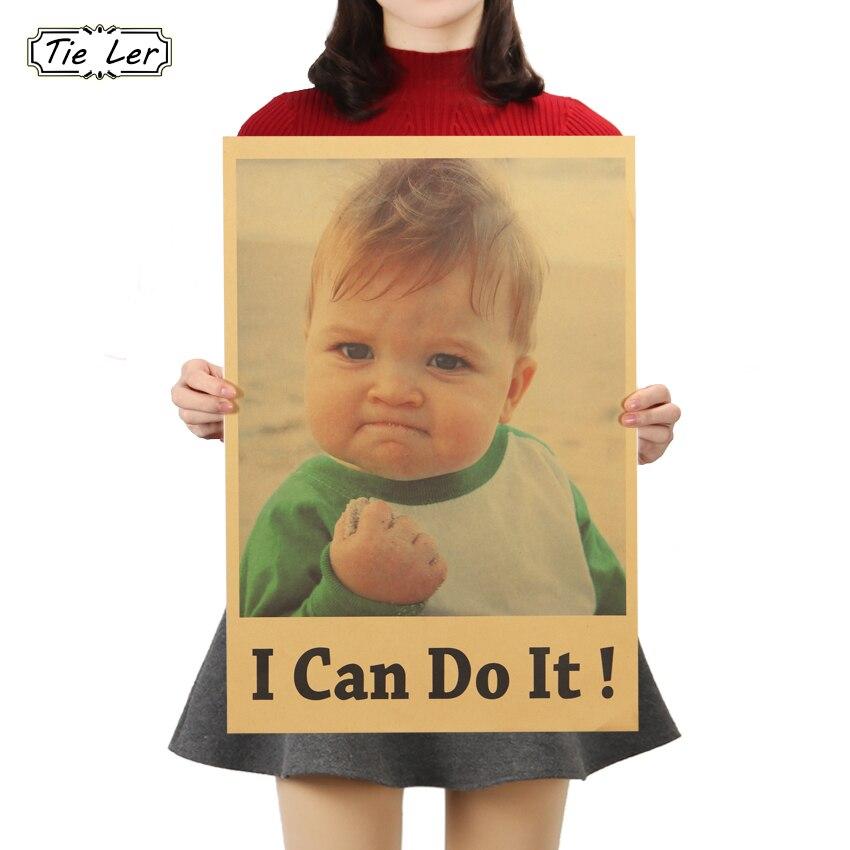 TIE LER I Can Do It cita inspiradora famosa papel Kraft Poster Bar Café dormitorio pintura decorativa pegatinas de pared