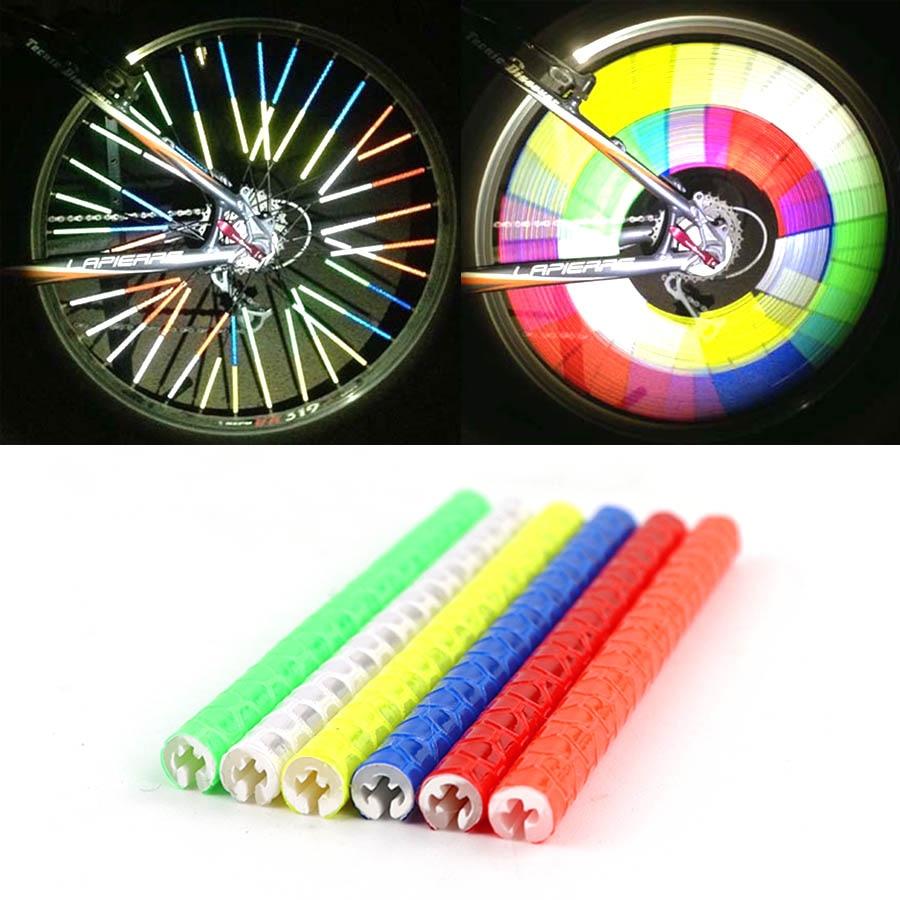 12Pcs Bicycle Mountain Bike Riding Wheel Rim Spoke Mount Clip Tube Warning Light Strip Reflector Reflective Outdoor 75mm