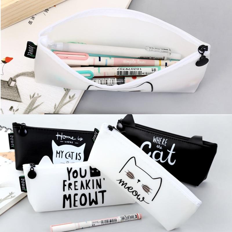 Gato letras lápis caso silicone material escolar papelaria presente escola ferramentas moda estudante lápis caixa de lápis caso caneta saco