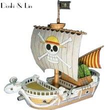 1300 3D15cm une pièce aller joyeux voilier bateau papier modèle assembler figurine jeu de Puzzle bricolage enfant jouet Denki & Lin